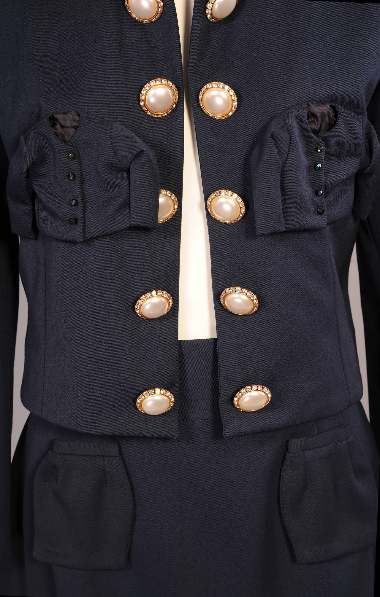 Iconic & Ironic Moschino Couture Suit, Chanel Inspired Suit Pockets In Excellent Condition For Sale In New Hope, PA
