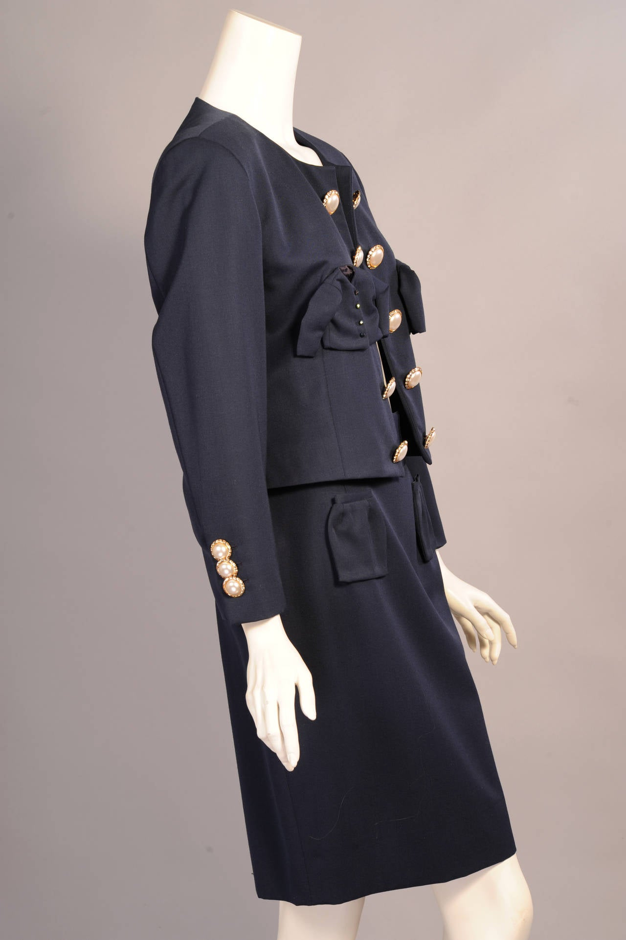 Iconic & Ironic Moschino Couture Suit, Chanel Inspired Suit Pockets For Sale 1
