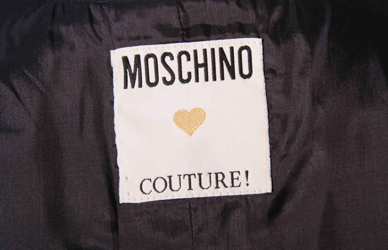 Iconic & Ironic Moschino Couture Suit, Chanel Inspired Suit Pockets For Sale 3