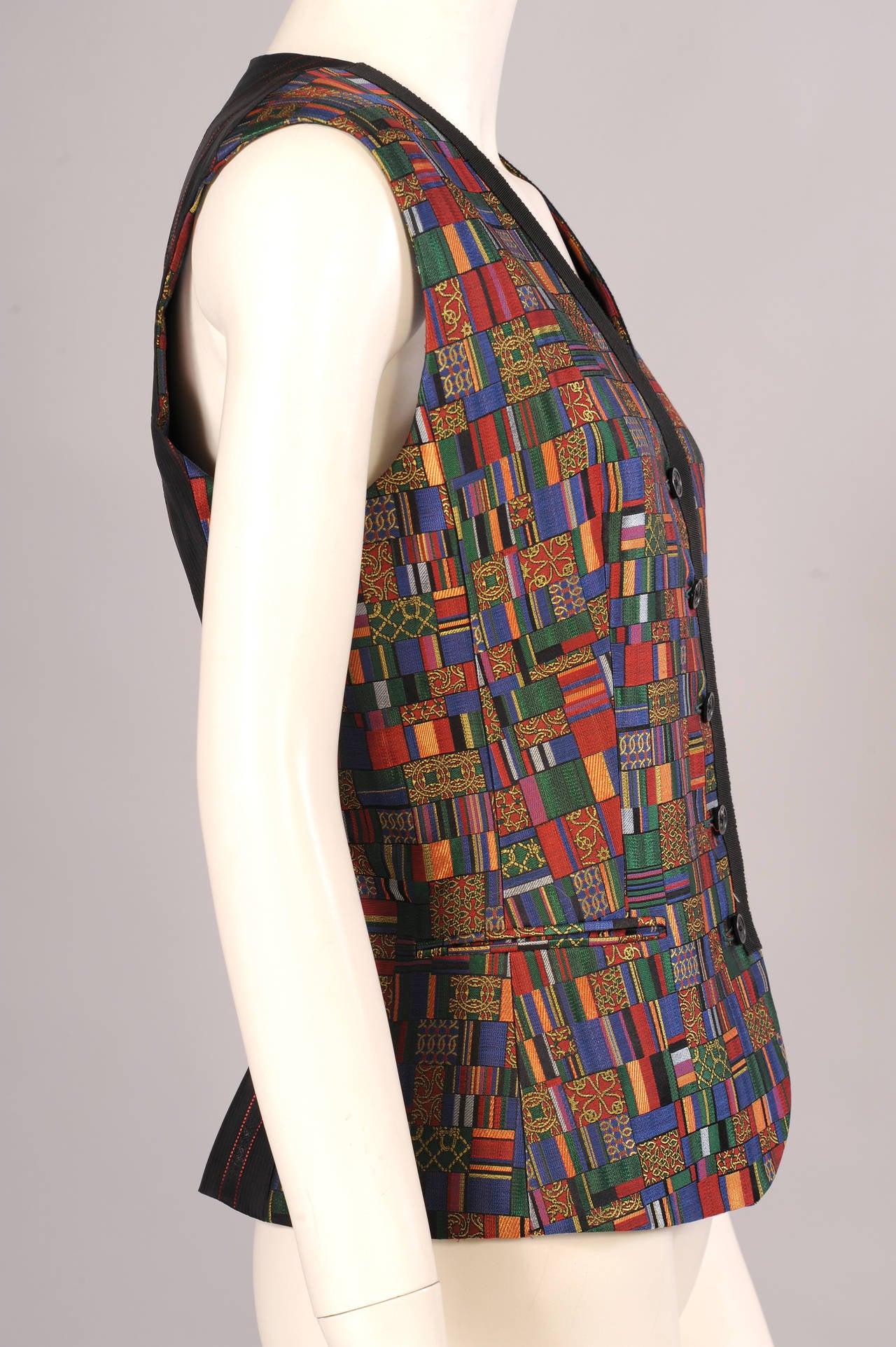 Black Hermes Paris Jewel Toned Woven Silk Vest For Sale