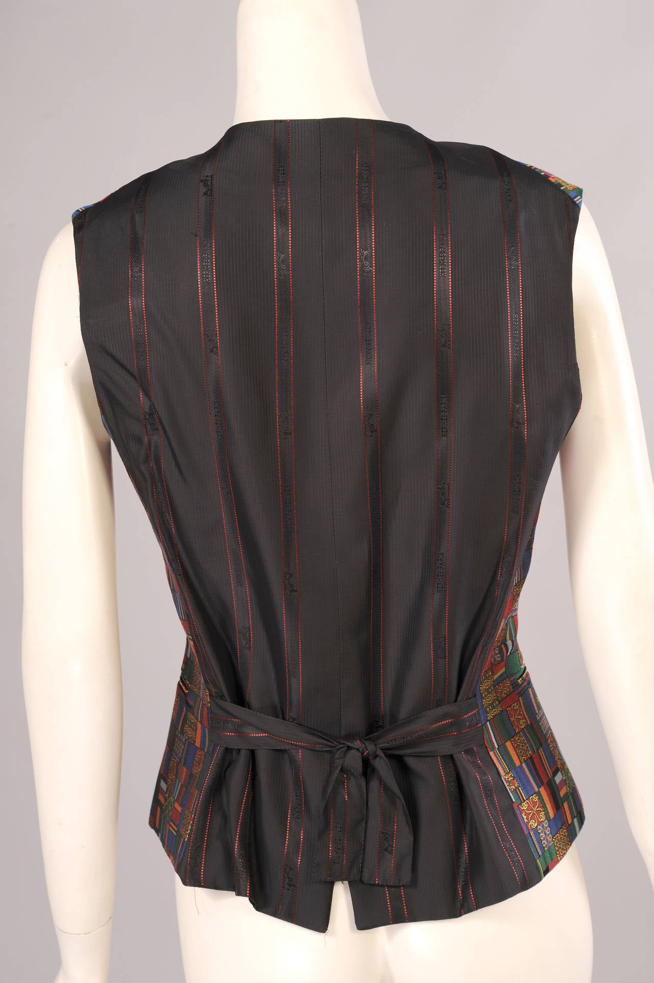 Hermes Paris Jewel Toned Woven Silk Vest In Excellent Condition For Sale In New Hope, PA