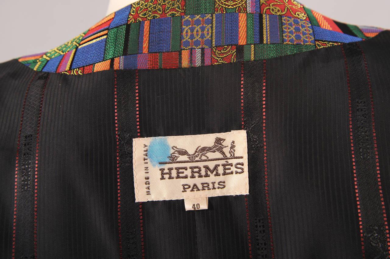 Hermes Paris Jewel Toned Woven Silk Vest For Sale 1