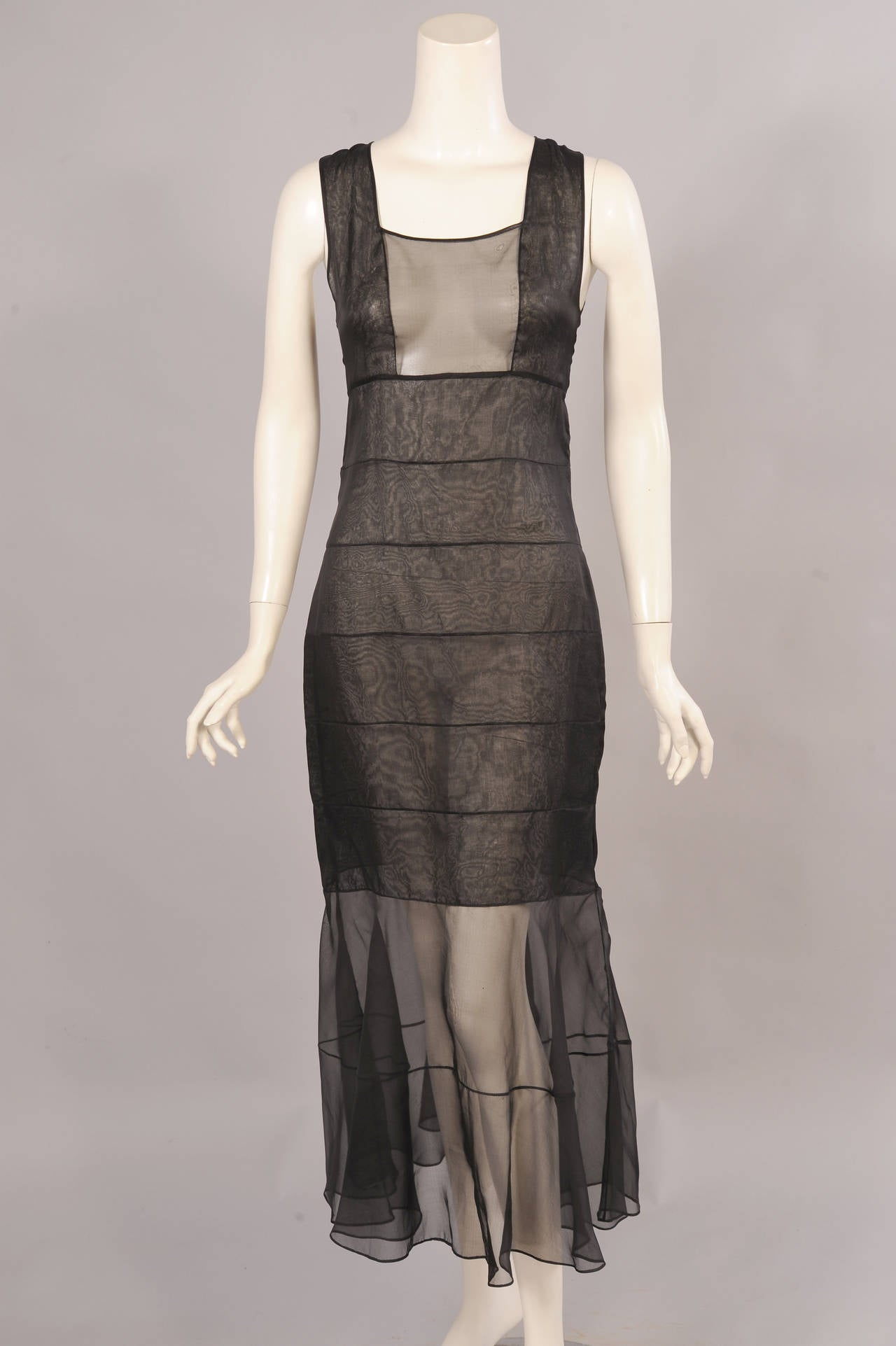 Women's Chanel Haute Couture Sheer Black Silk Dress and Jacket For Sale