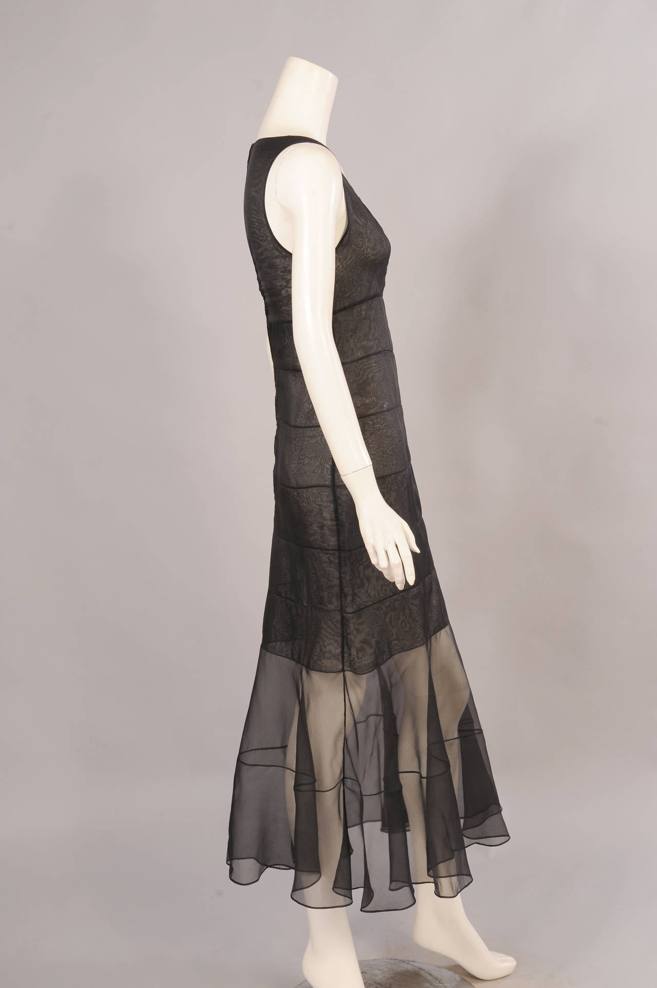 Chanel Haute Couture Sheer Black Silk Dress and Jacket For Sale 1