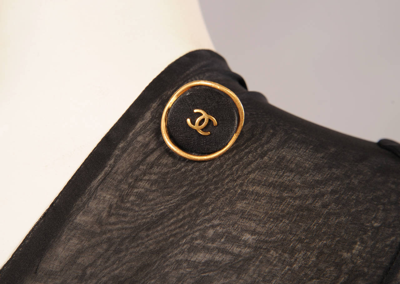 Chanel Haute Couture Sheer Black Silk Dress and Jacket For Sale 4