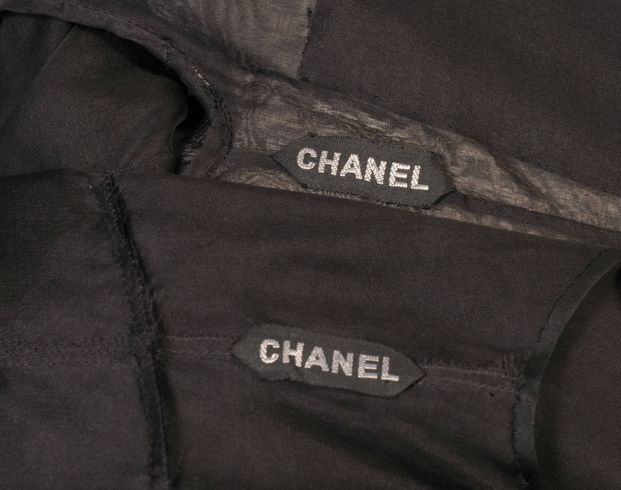 Chanel Haute Couture Sheer Black Silk Dress and Jacket For Sale 5