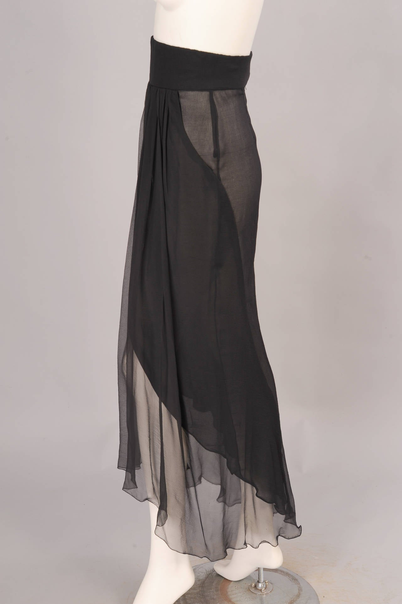 Yves Saint Laurent Haute Couture Sheer Silk Chiffon Skirt 2