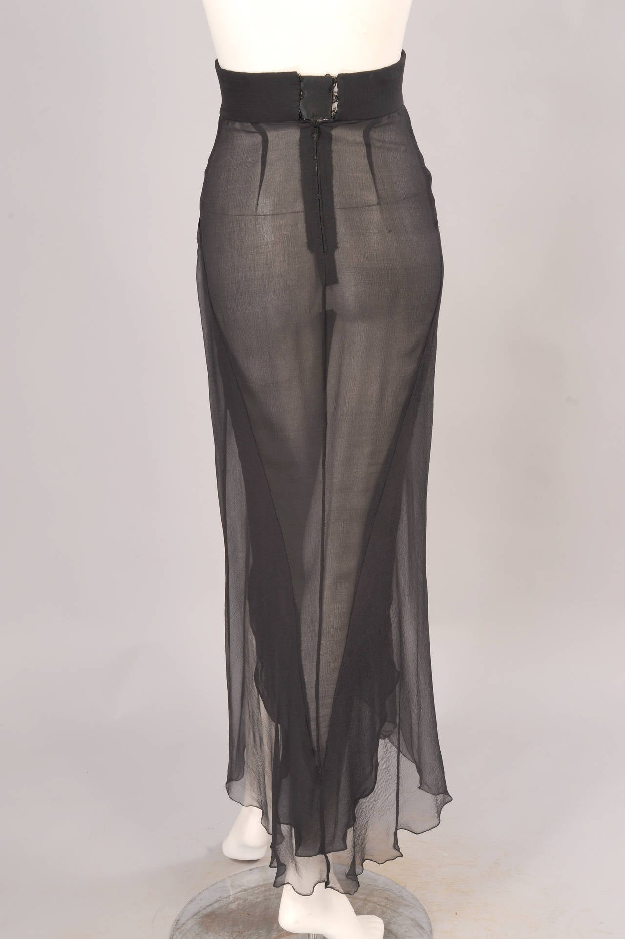 Yves Saint Laurent Haute Couture Sheer Silk Chiffon Skirt 3