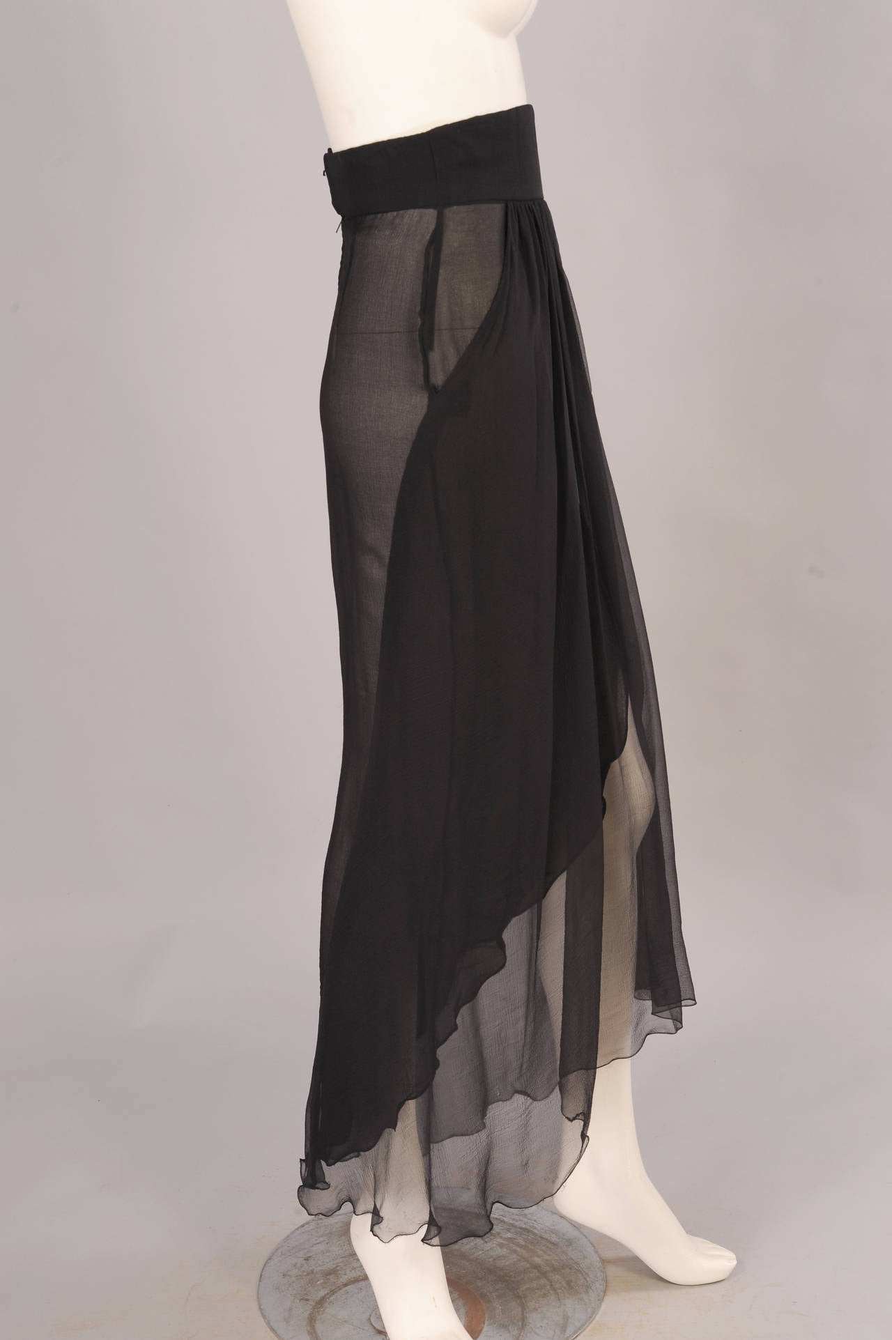 Yves Saint Laurent Haute Couture Sheer Silk Chiffon Skirt 4