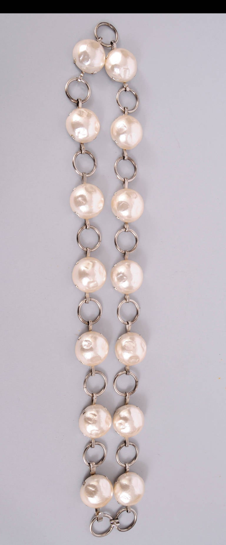 Contemporary 1970's Jean Patou Large Pearl Link Belt or Necklace For Sale