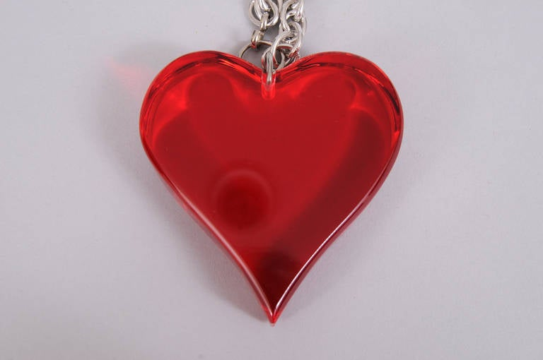 Large Red Lucite Heart Necklace or Belt 2