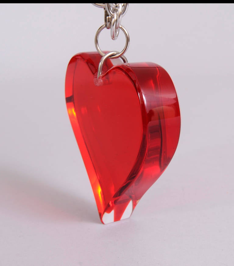 Large Red Lucite Heart Necklace or Belt 3