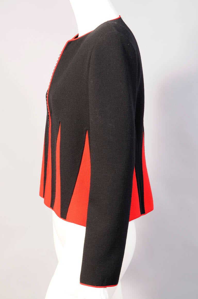 Graphic Red and Black Jacket with Swarovski Crystal Zipper In Excellent Condition For Sale In New Hope, PA