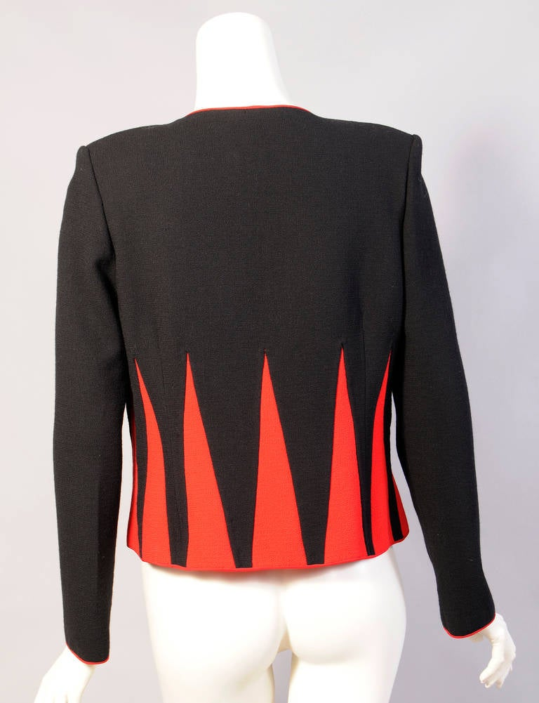 Women's Graphic Red and Black Jacket with Swarovski Crystal Zipper For Sale