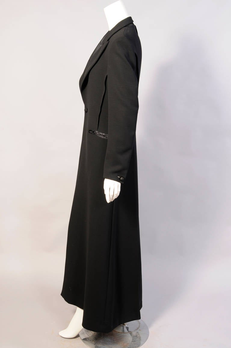 Black Elegant Jean Paul Gaultier Long Tuxedo Coat with Satin Lapels Intricate Seaming For Sale