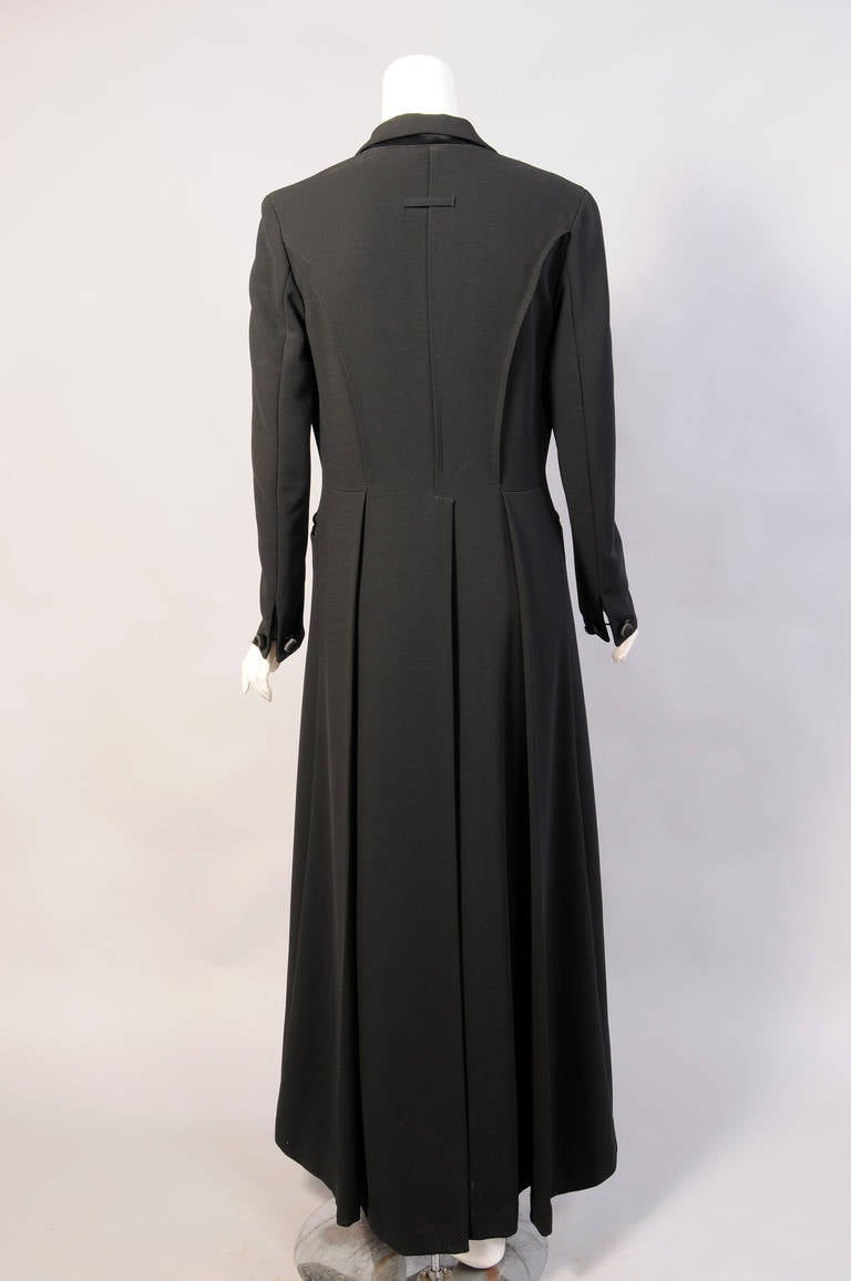 Elegant Jean Paul Gaultier Long Tuxedo Coat with Satin Lapels Intricate Seaming In Excellent Condition For Sale In New Hope, PA