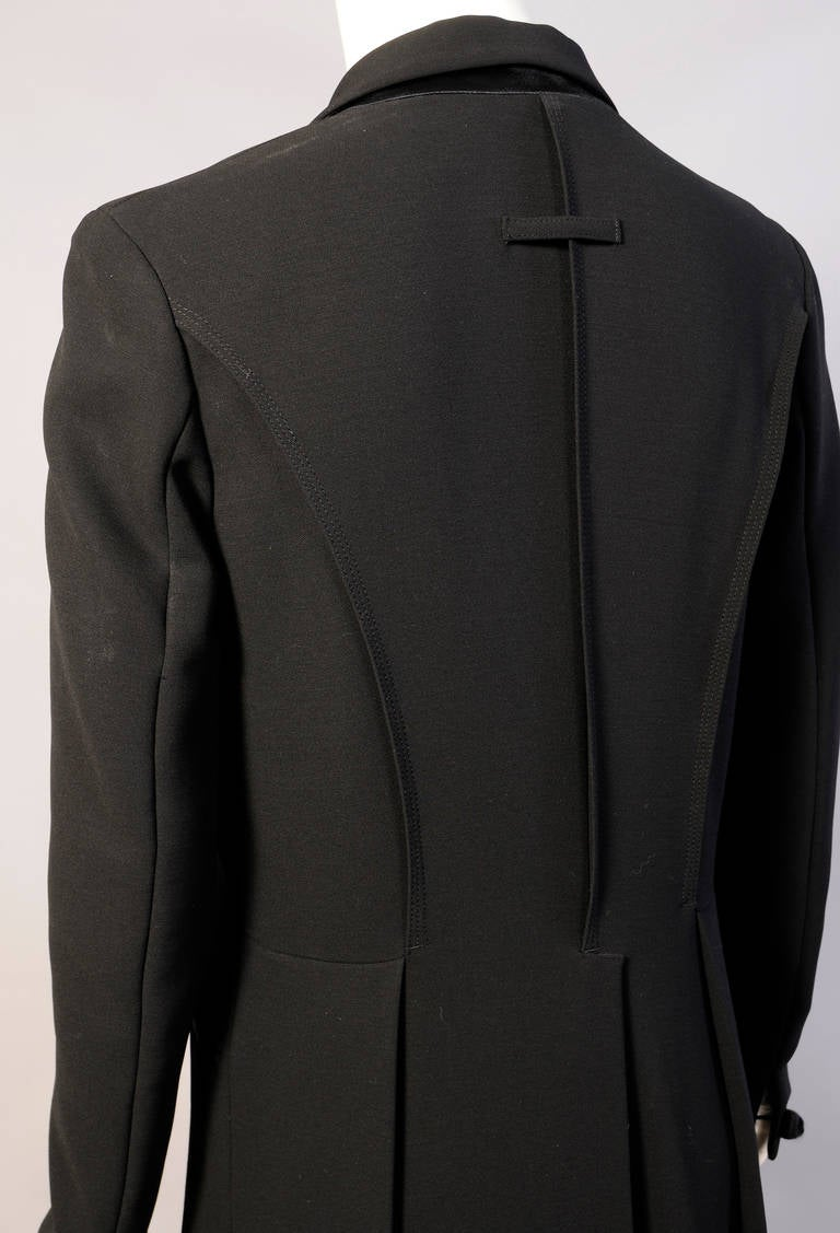 Women's Elegant Jean Paul Gaultier Long Tuxedo Coat with Satin Lapels Intricate Seaming For Sale