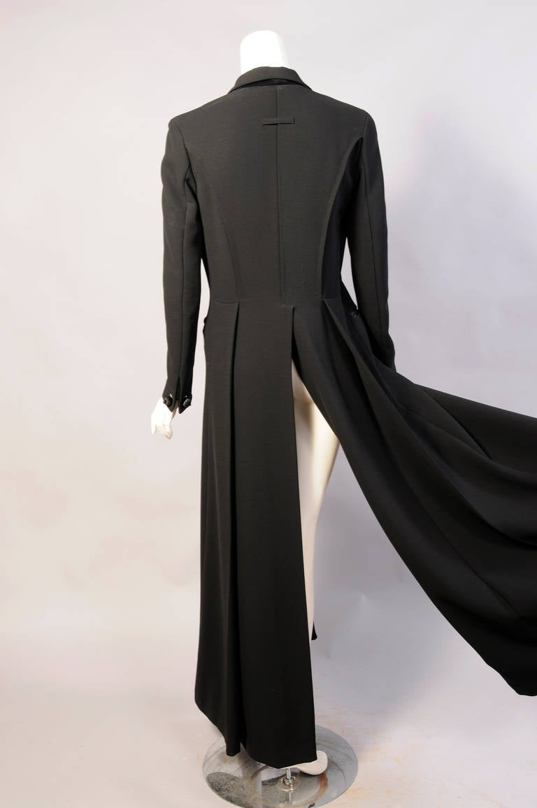 Elegant Jean Paul Gaultier Long Tuxedo Coat with Satin Lapels Intricate Seaming For Sale 1