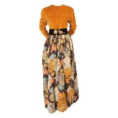 Oscar de la Renta Quilted Velvet Top & Appliqued Matelasse Skirt