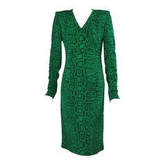 Givenchy Haute Couture Kelly Green Snakeskin Print Wool Dress, Runway Label