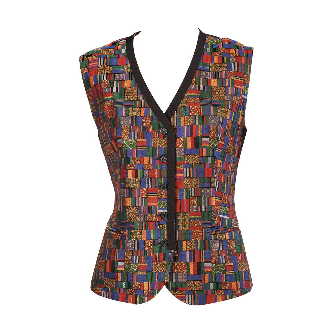 Hermes Paris Jewel Toned Woven Silk Vest For Sale