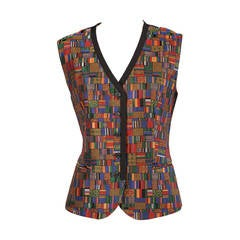 Hermes Paris Jewel Toned Woven Silk Vest