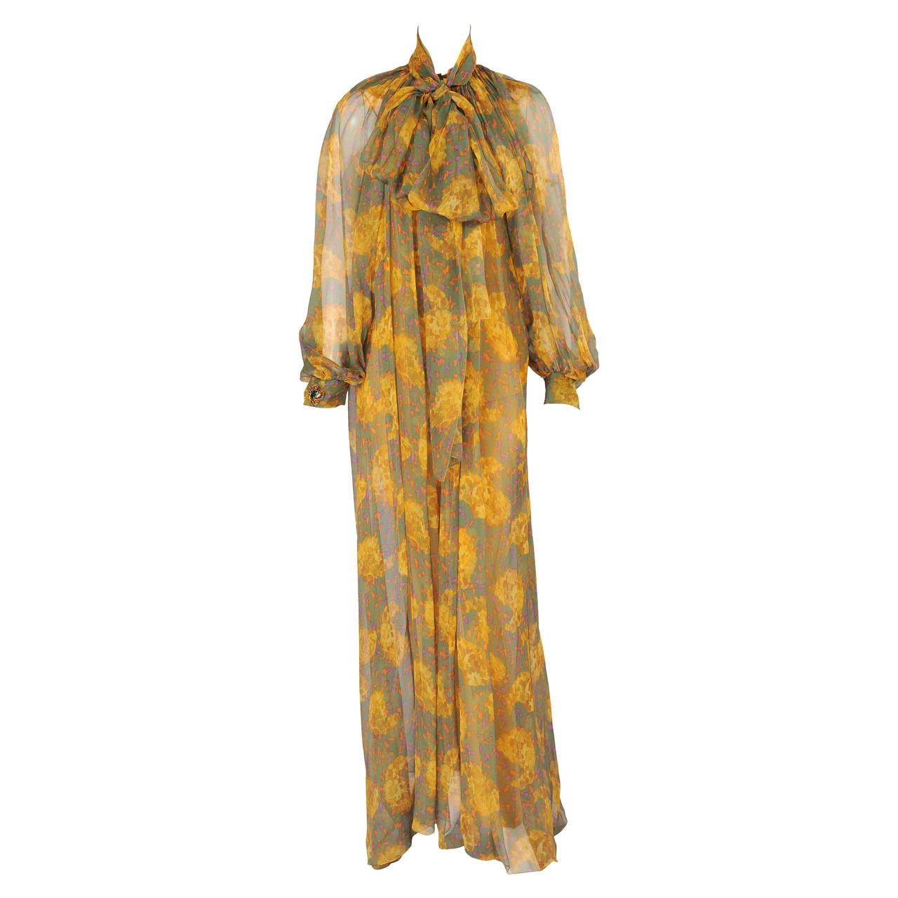 Givenchy Haute Couture Paisley Printed Silk Chiffon Coat with Camisole and Pants