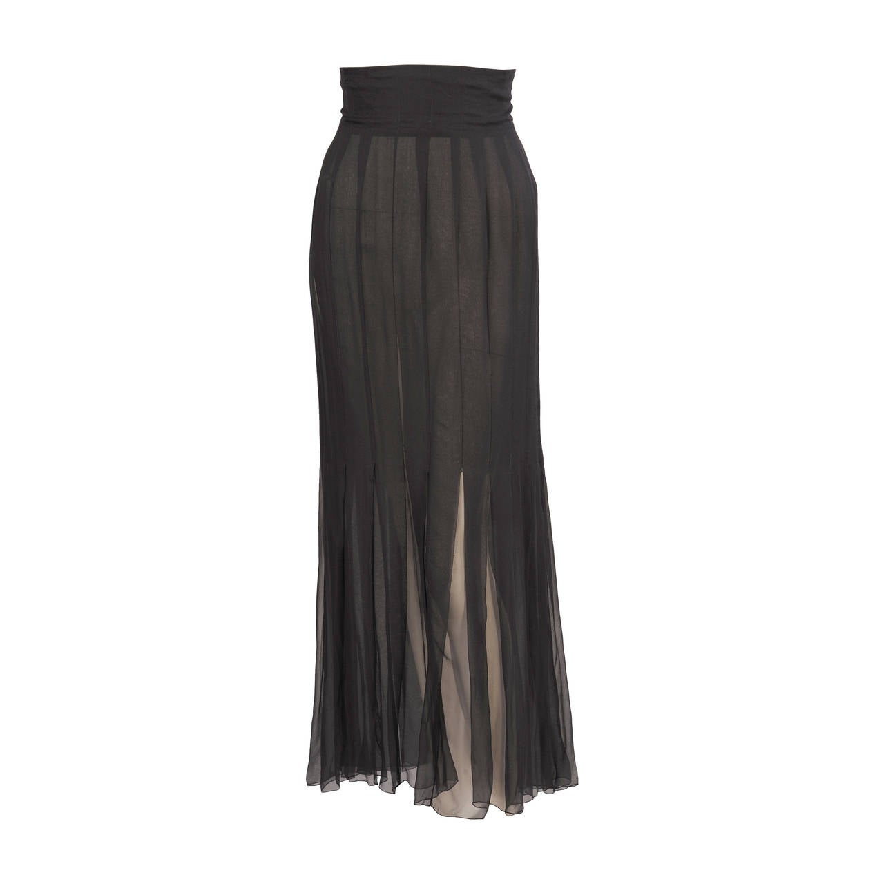 Chanel Haute Couture Black Silk Chiffon Skirt