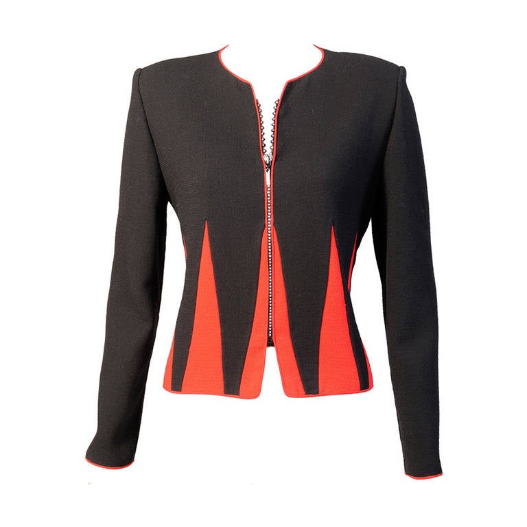 Graphic Red and Black Jacket with Swarovski Crystal Zipper