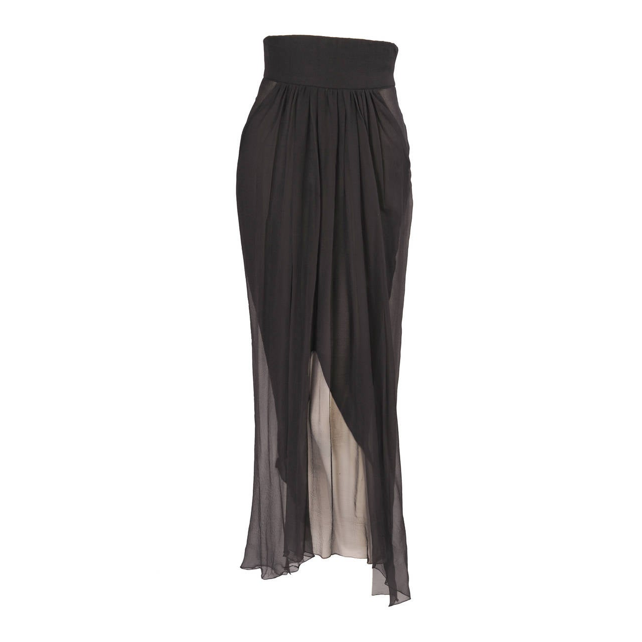Yves Saint Laurent Haute Couture Sheer Silk Chiffon Skirt 1