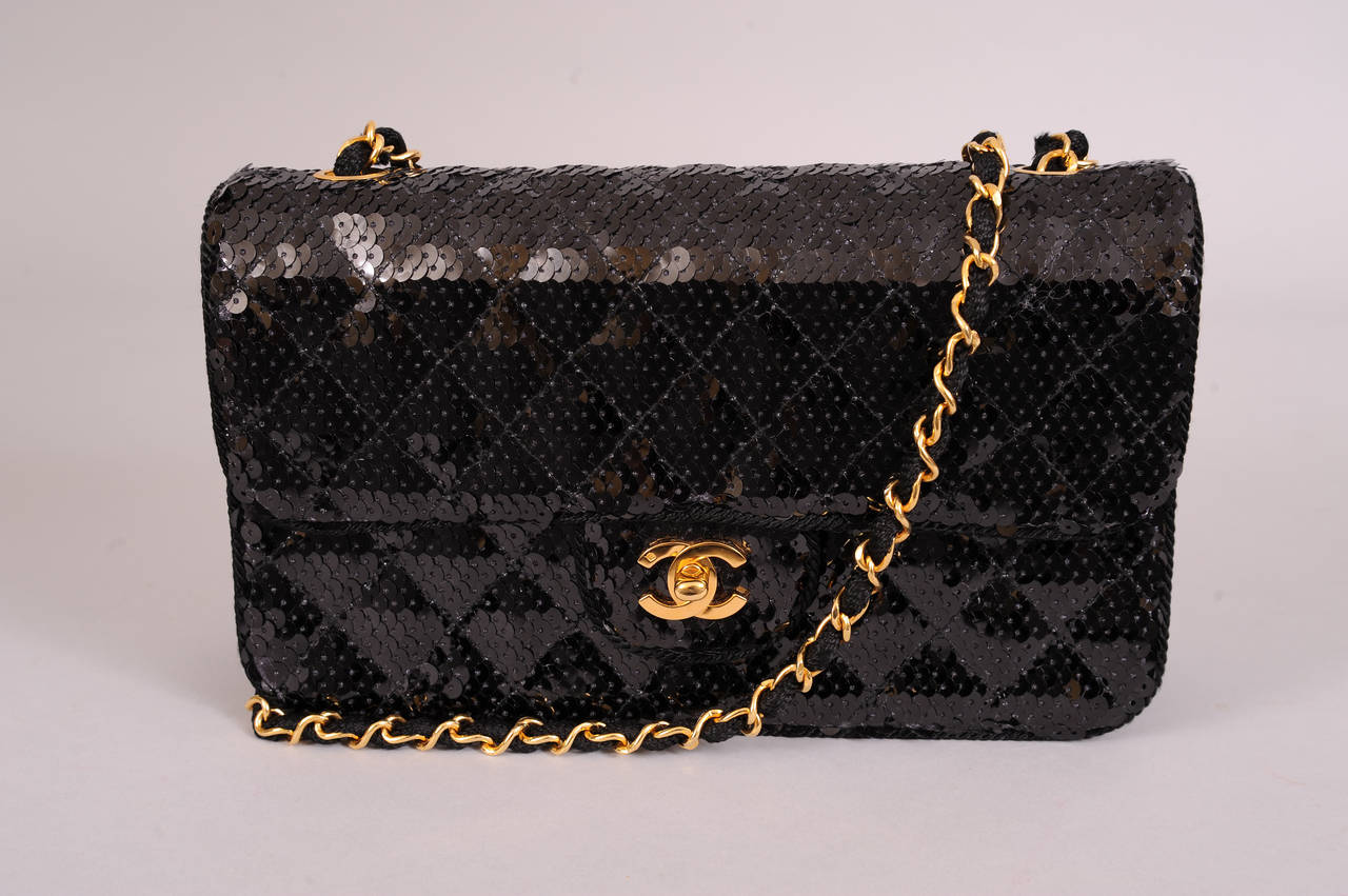 Chanel Sparkling Black Sequin Quilted Bag with Chain Strap, Never Used 2