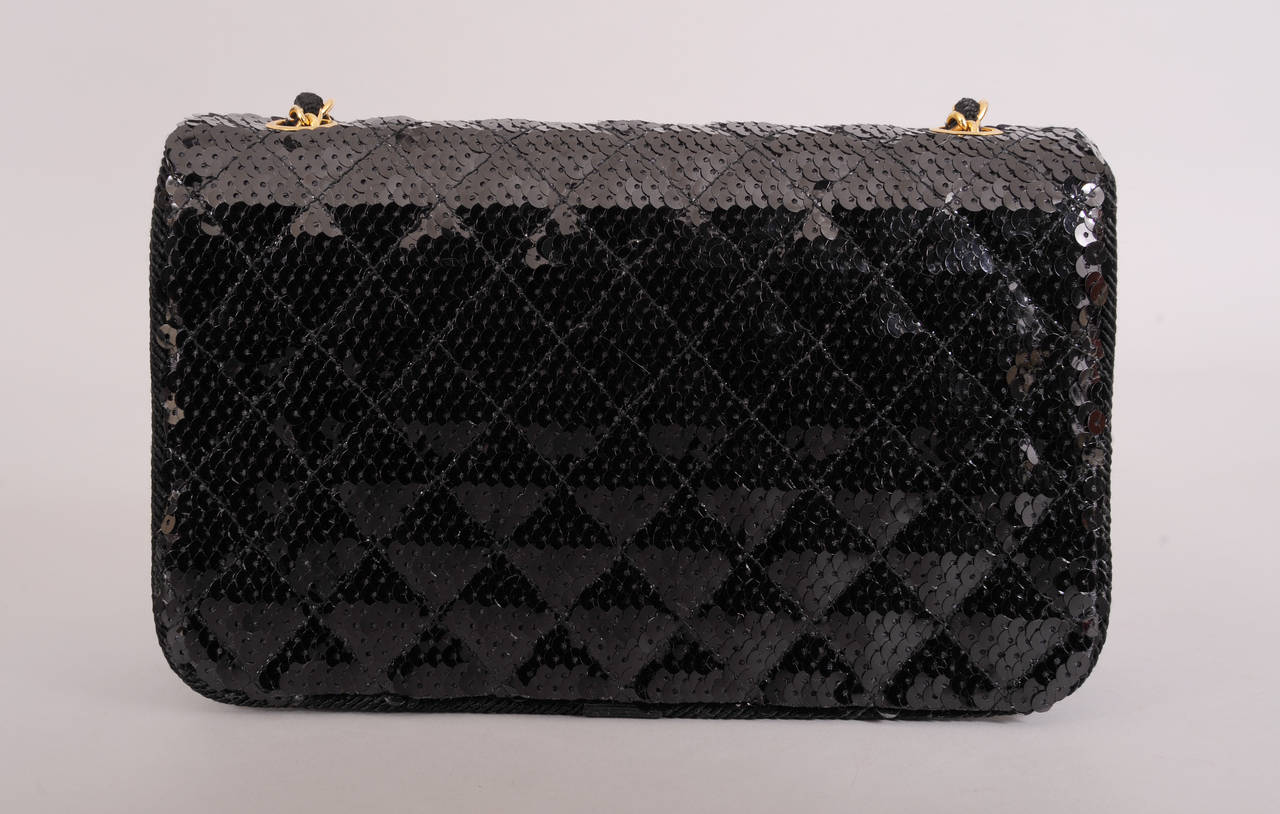 Chanel Sparkling Black Sequin Quilted Bag with Chain Strap, Never Used 5