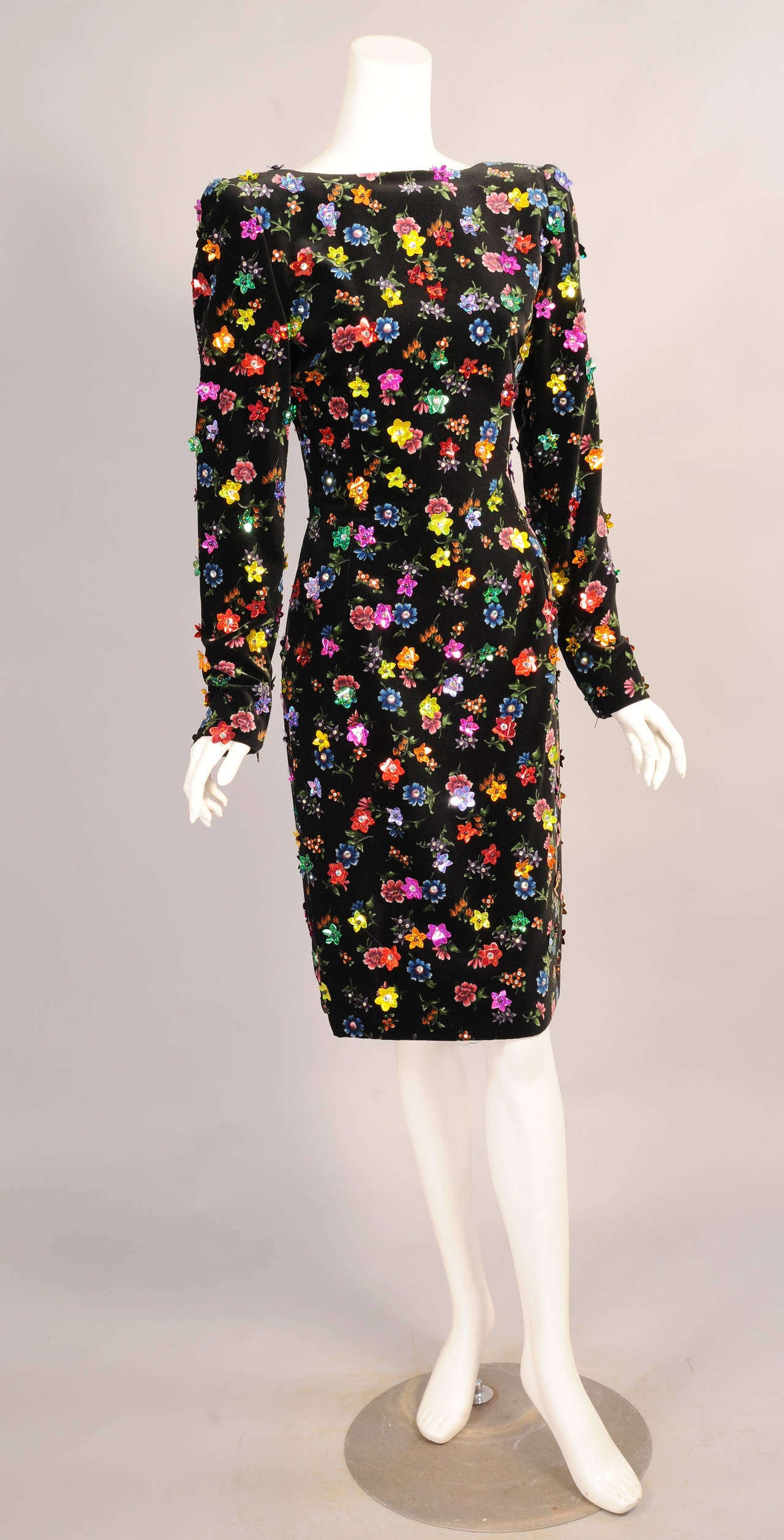 Givenchy Haute Couture Beaded & Printed Floral Velvet Dress, Low Back 2