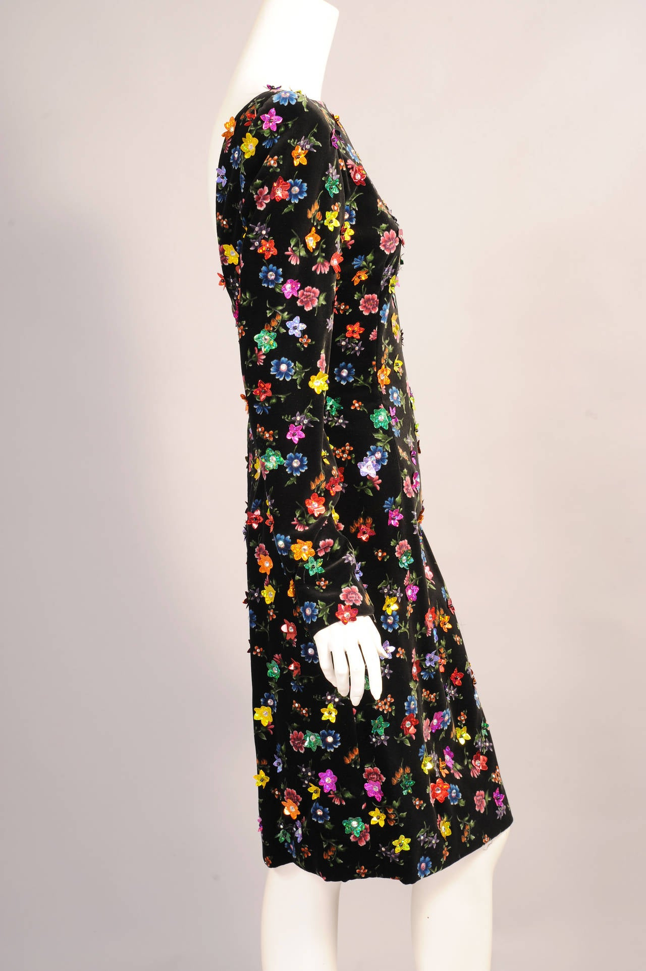 Givenchy Haute Couture Beaded & Printed Floral Velvet Dress, Low Back 3