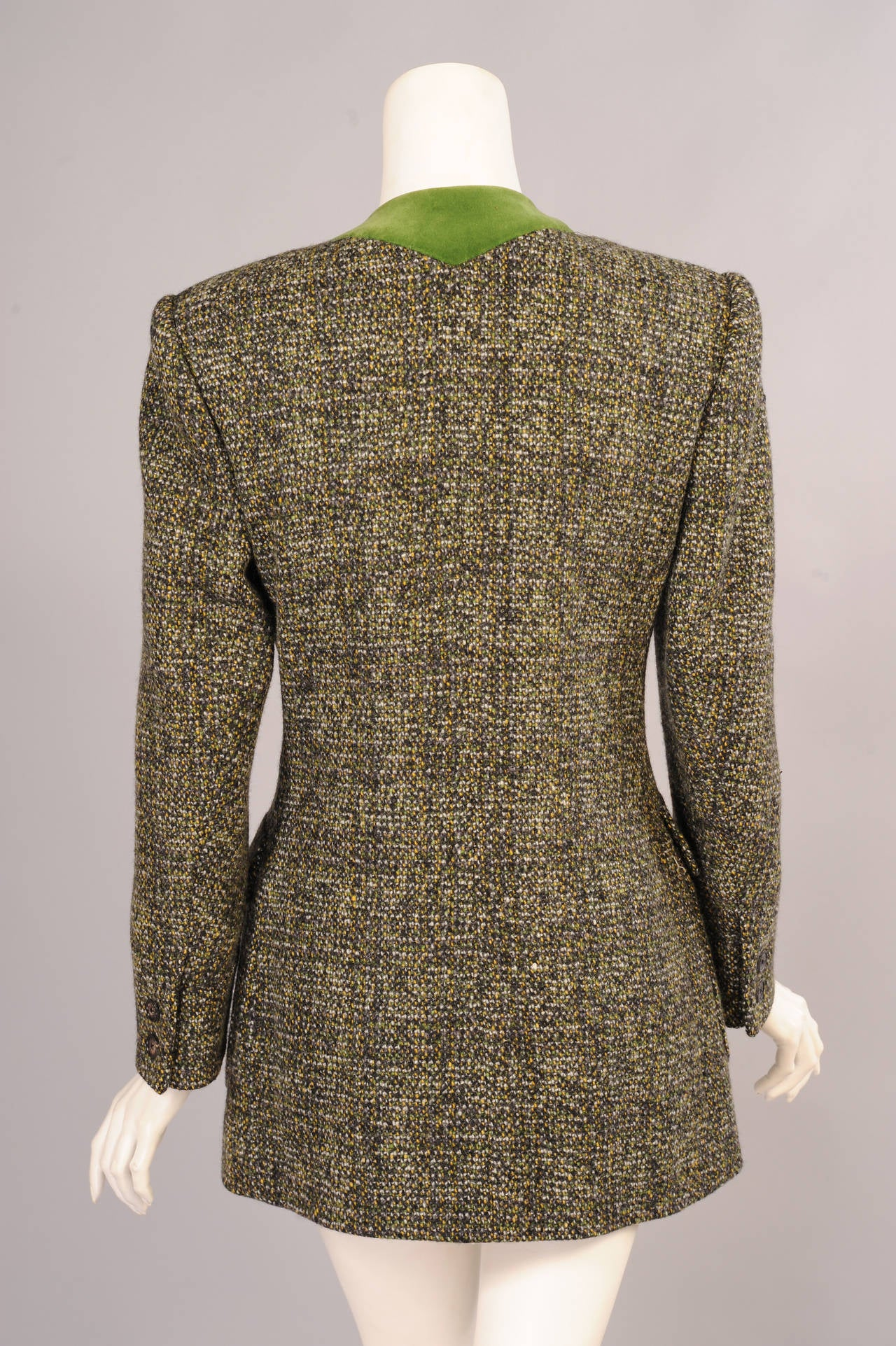 Brown Hermes Velvet Trimmed Green Wool Tweed Jacket For Sale