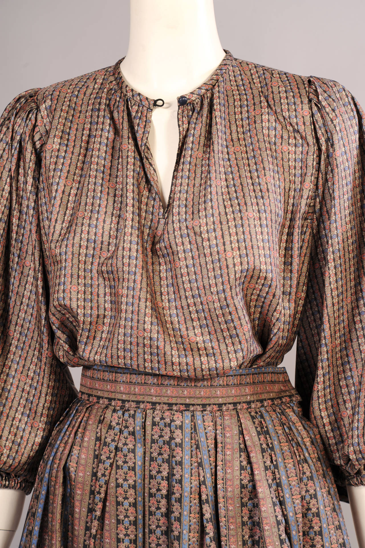 Yves Saint Laurent 1970's Russian Collection Two Piece Silk Dress 2