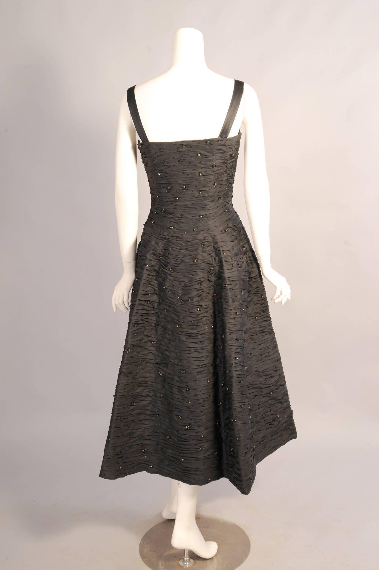 1950 39 s balenciaga haute couture beaded black silk evening for 1960 s haute couture
