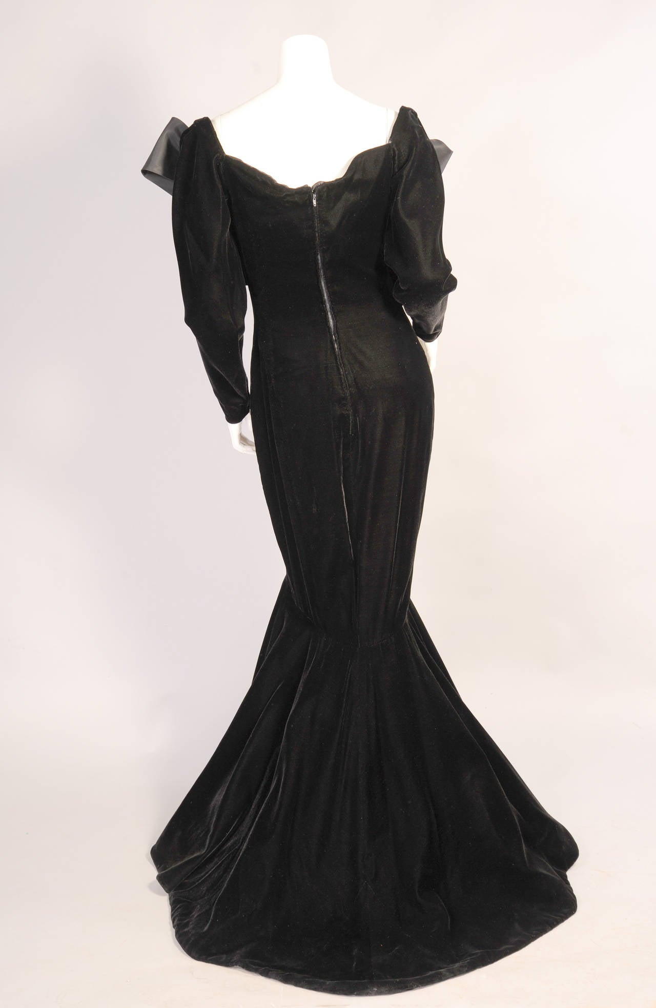 Yves Saint Laurent Haute Couture Black Silk Velvet Mermaid Gown 3