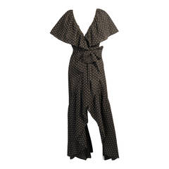 Halston 1970's Ruffled Wrap Dress Dotted Swiss Fabric