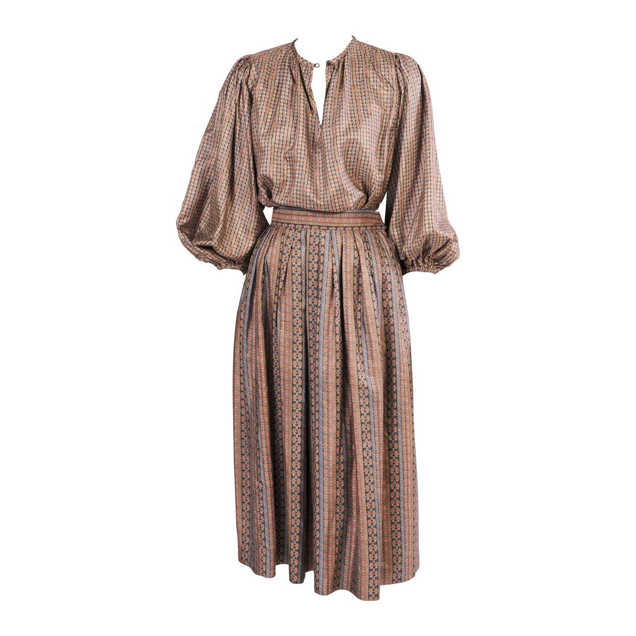 Yves Saint Laurent 1970's Russian Collection Two Piece Silk Dress 1