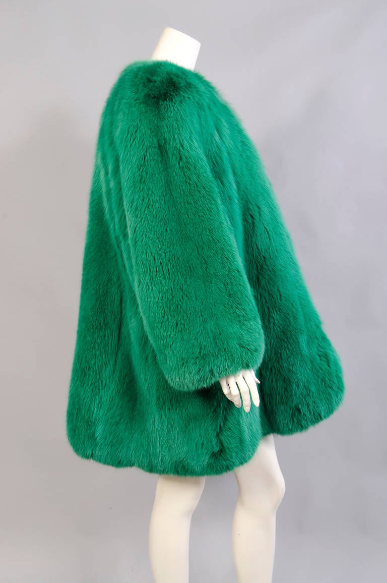 Givenchy Haute Couture Runway Worn Green Fox Jacket 3