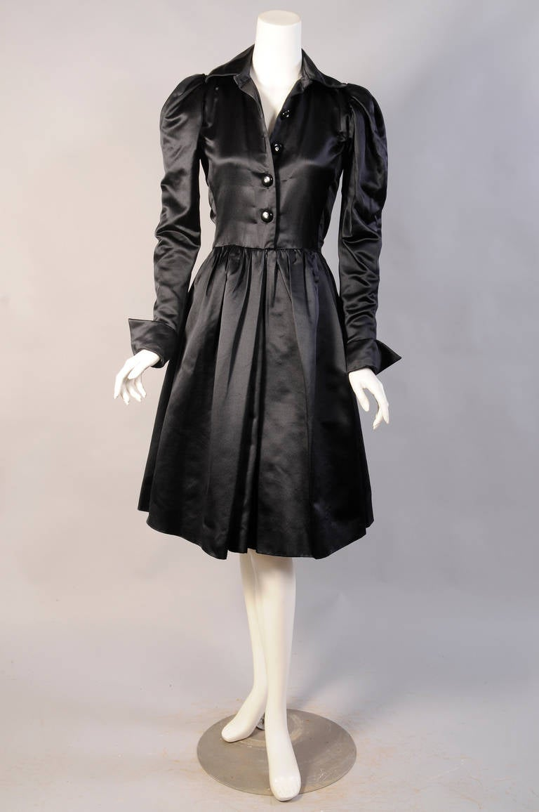yves saint laurent haute couture black satin evening dress for sale at 1stdibs. Black Bedroom Furniture Sets. Home Design Ideas