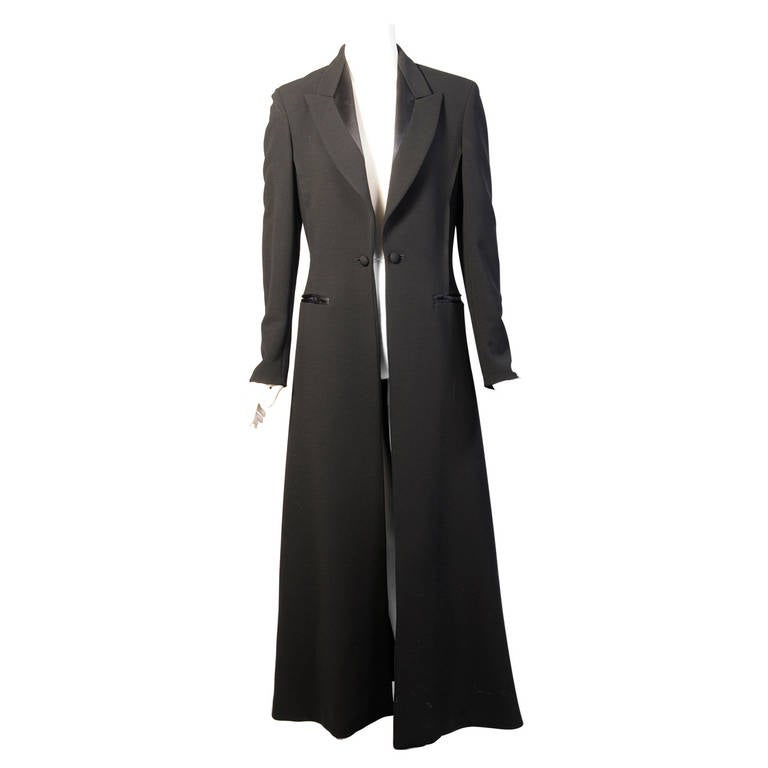 Elegant Jean Paul Gaultier Long Tuxedo Coat with Satin Lapels Intricate Seaming For Sale
