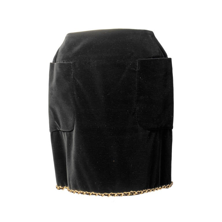 Chanel Black Velvet Skirt with Gold Chain Hem and Logo Buttons