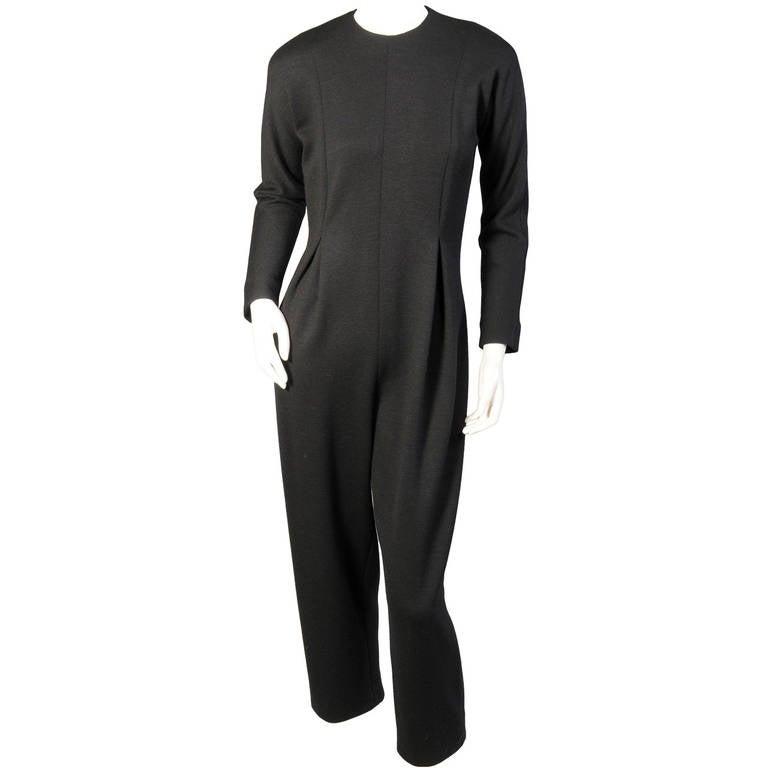 Geoffrey Beene Black Wool Knit Jumpsuit