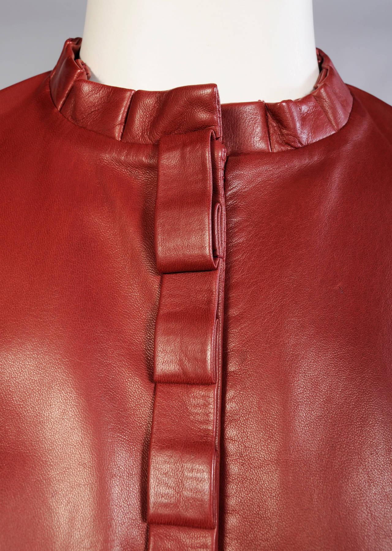 Carolina Herrera Burgundy Leather Jacket  2