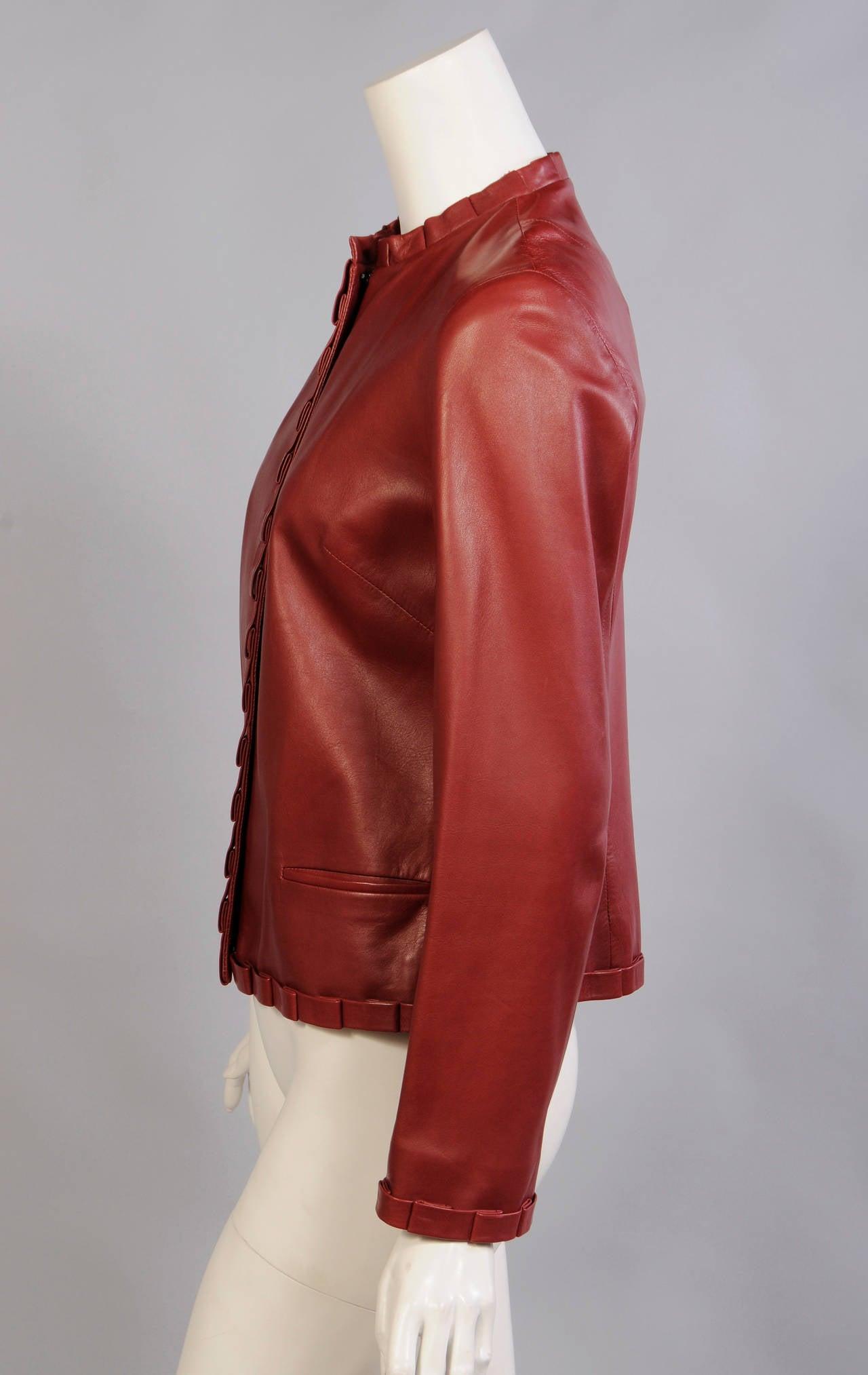 Carolina Herrera Burgundy Leather Jacket  3