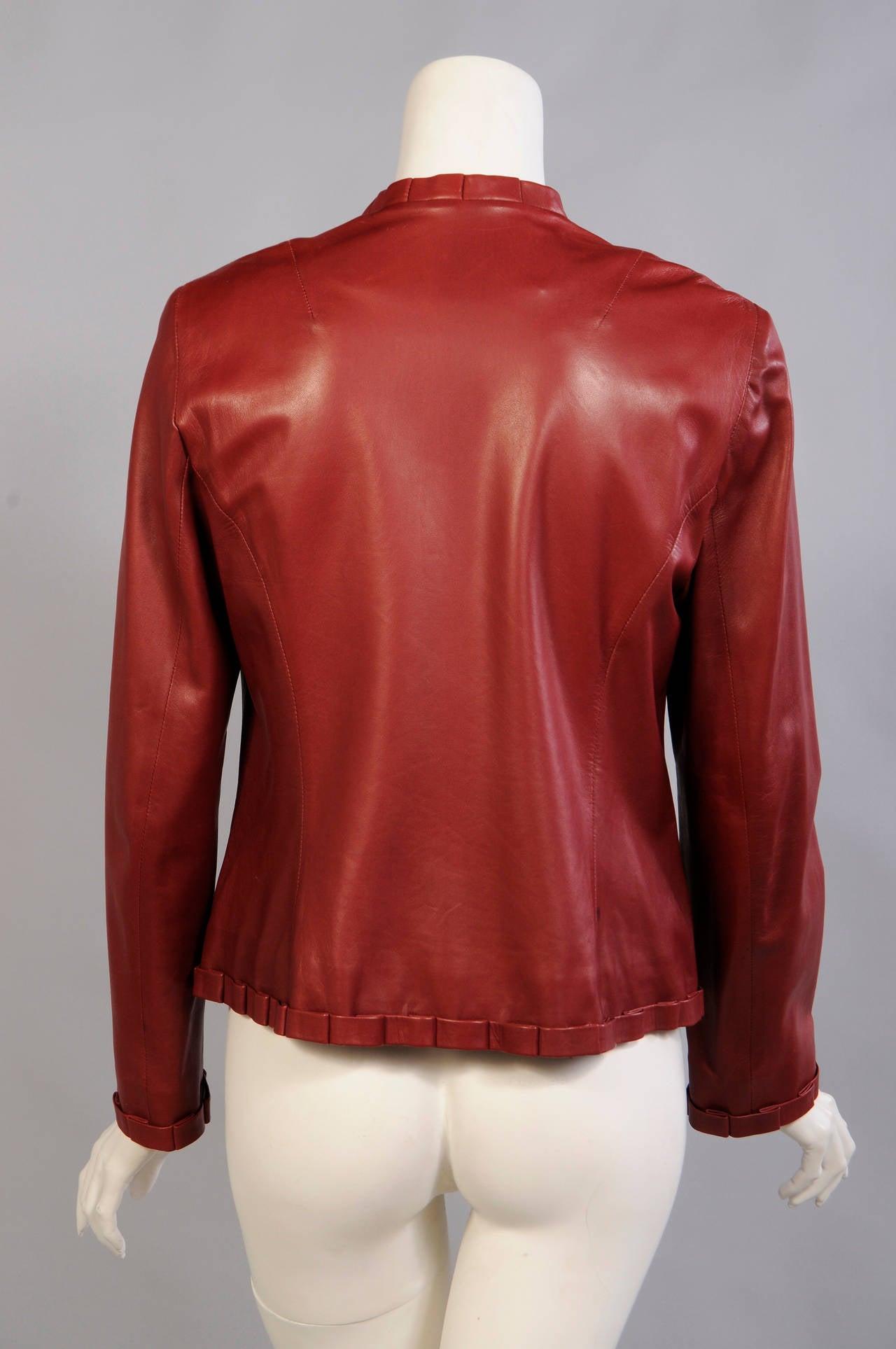 Carolina Herrera Burgundy Leather Jacket  4