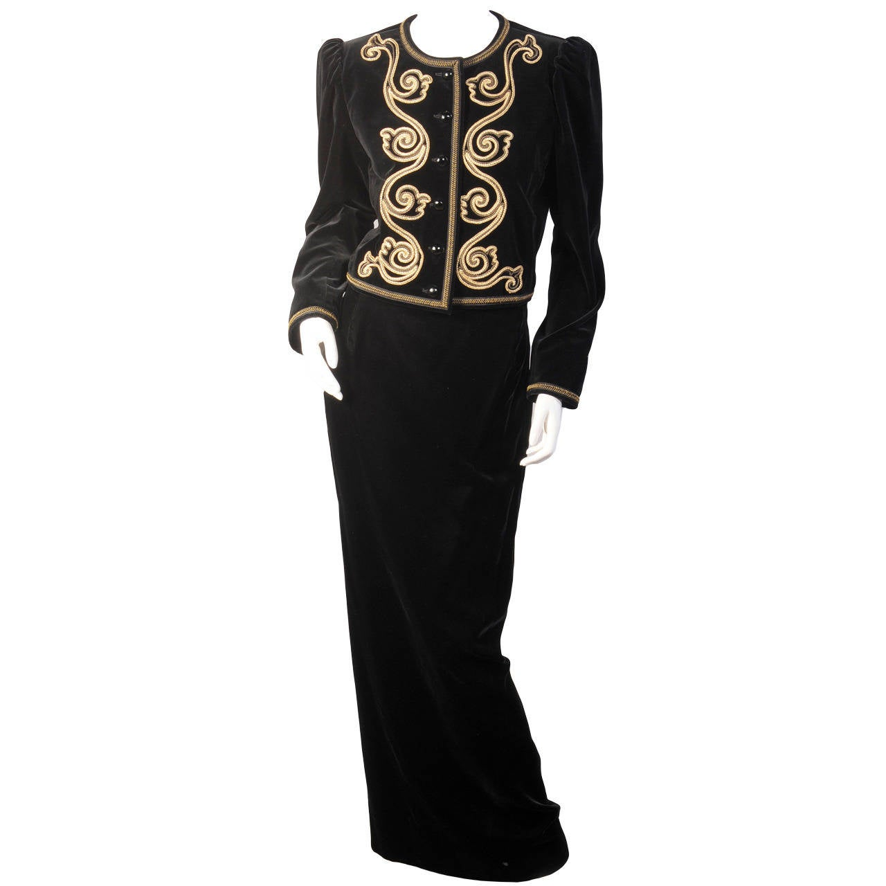 Yves Saint Laurent Evening Suit with Gold Soutache Braid