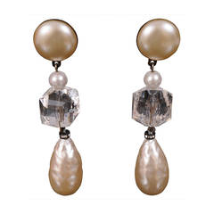 Vintage Pearl & Crystal Earrings